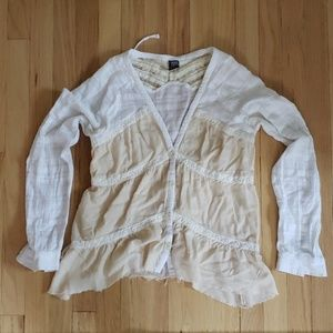 FREE PEOPLE Gauzy Button Front